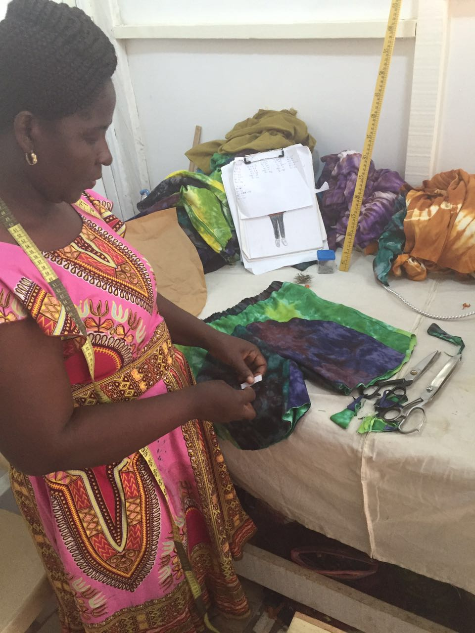 Matilda Cuts Patterns for Seamstresses to Join Together