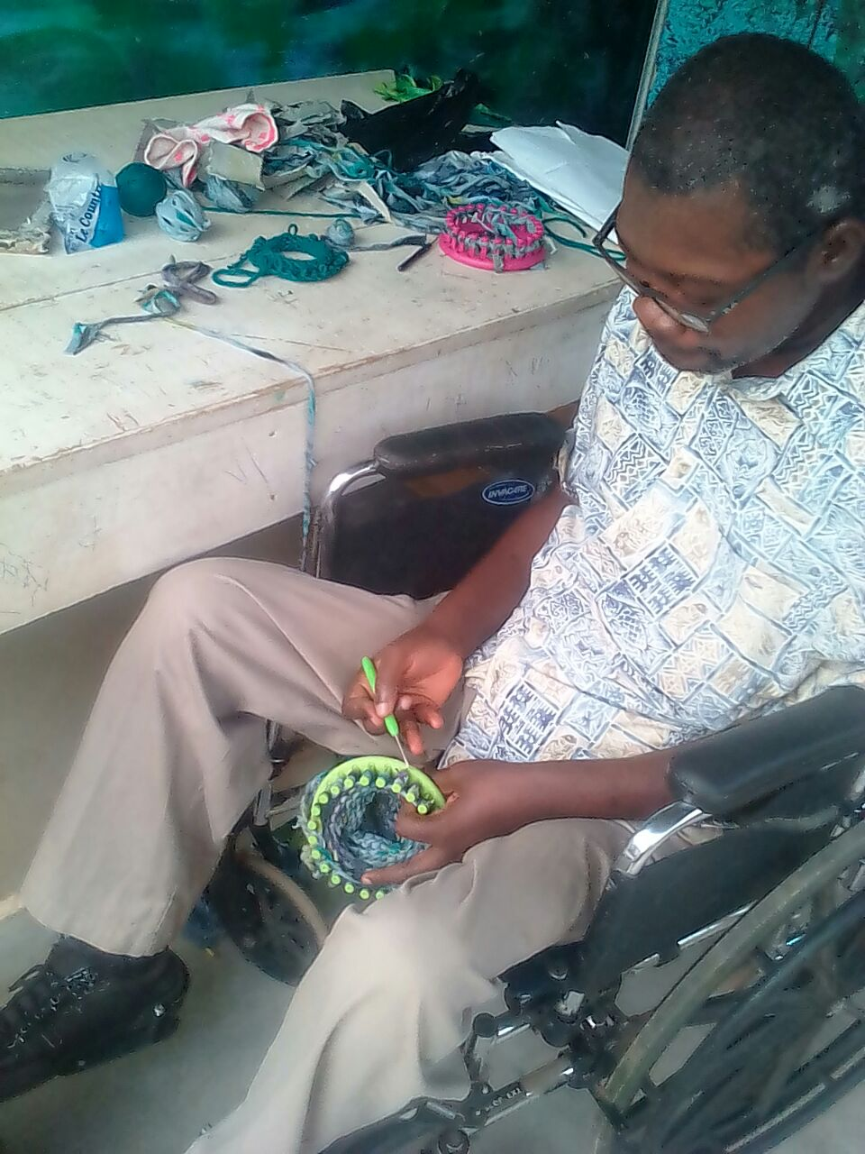 Knitter Visits Workshop for Mitten Training Session