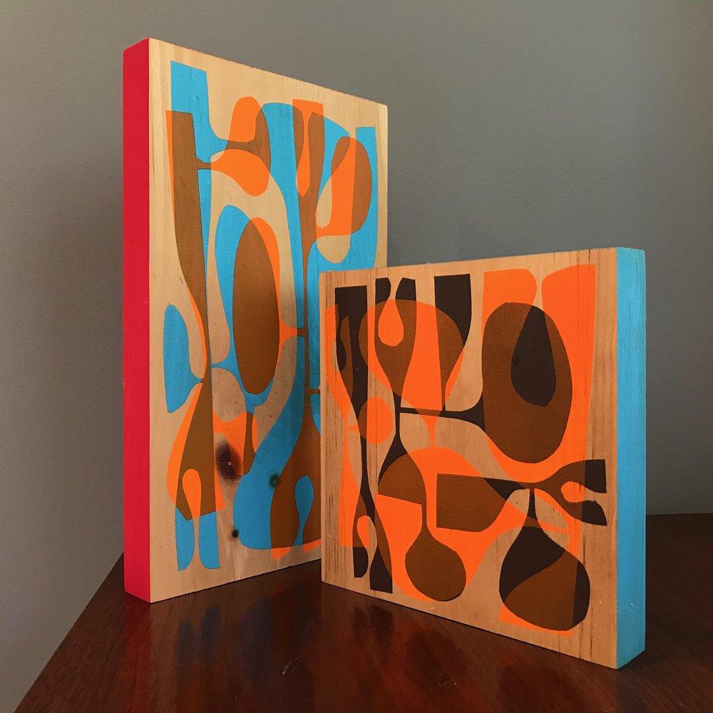 wishbone + kidney paintings on wood - Abstract paintings on 1