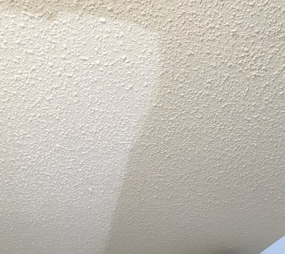The difference between painted and unpainted ceilings.
