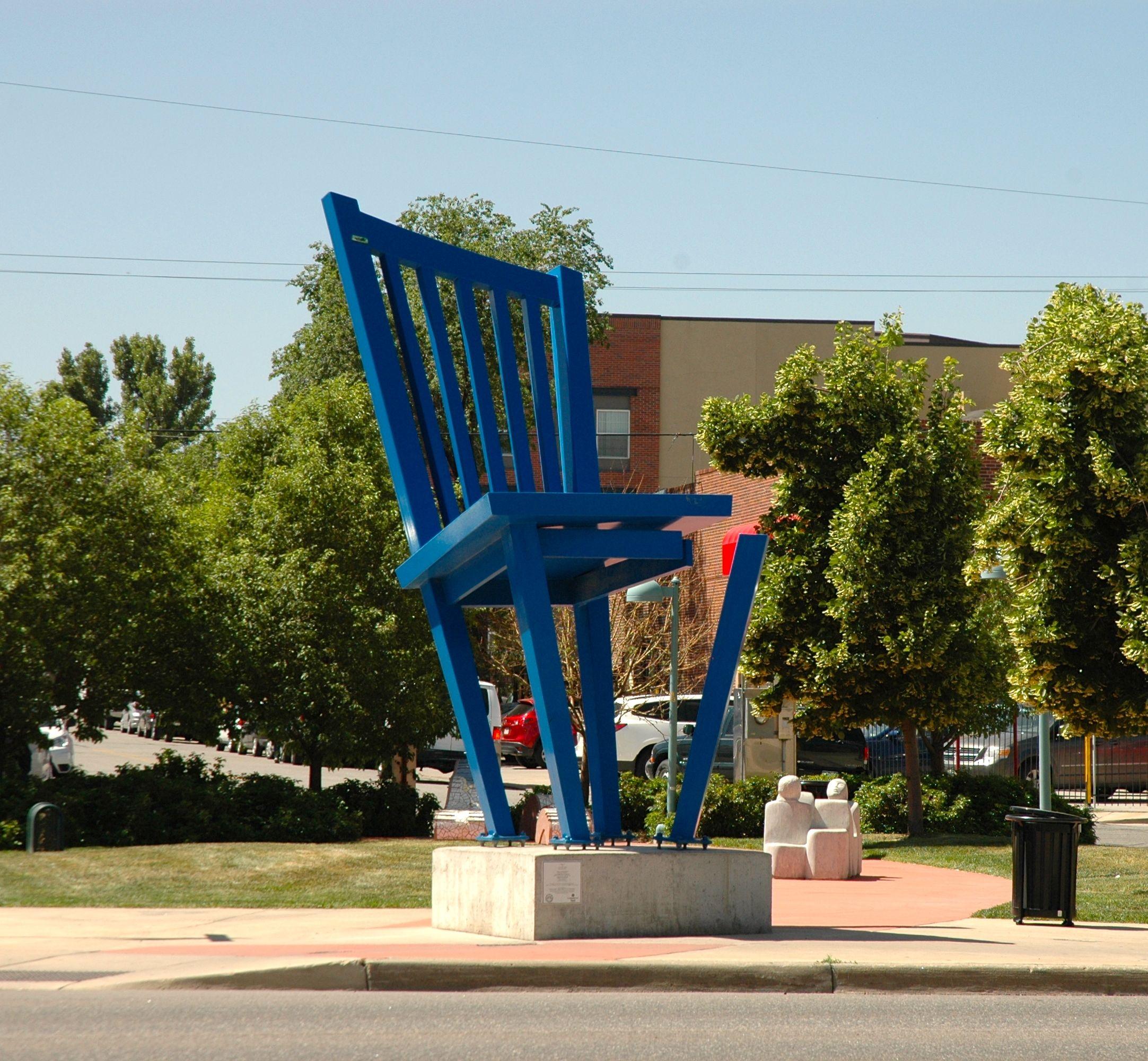 orange blue chair
