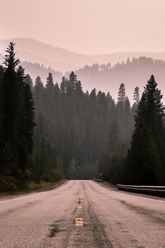 Hazy mountains in Idaho