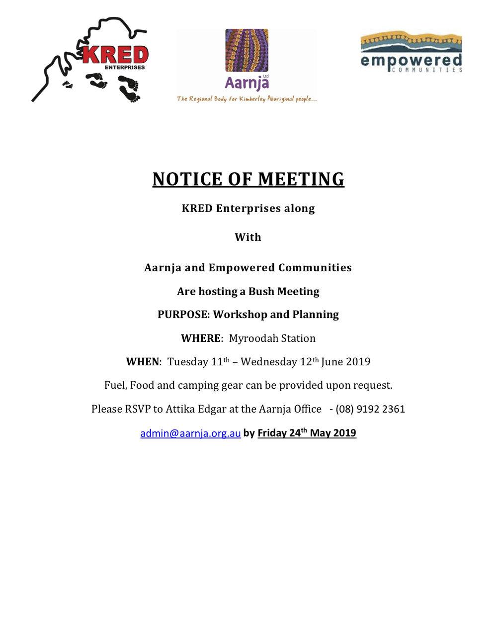 KRED & Aarnja Bush Meeting - Invitaiton - Aarnja Members.jpg