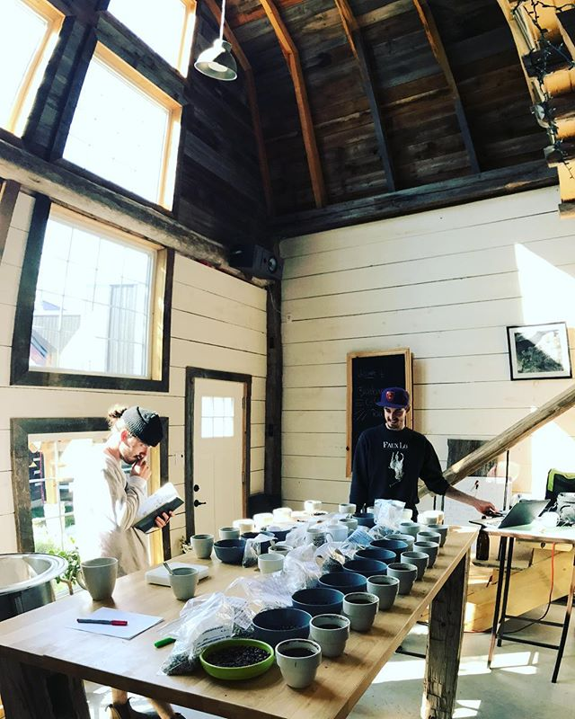 Cupping a table of Huilas ahead of our trip to Colombia next week.... some standout cups to look forward to! #bluebarncoffee #ourbarnisblue #ottawacoffee #directtrade