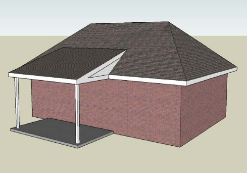 Figure 6 Example Of A Typical Shed Roof With Roof Tie In On A Single Story  House.