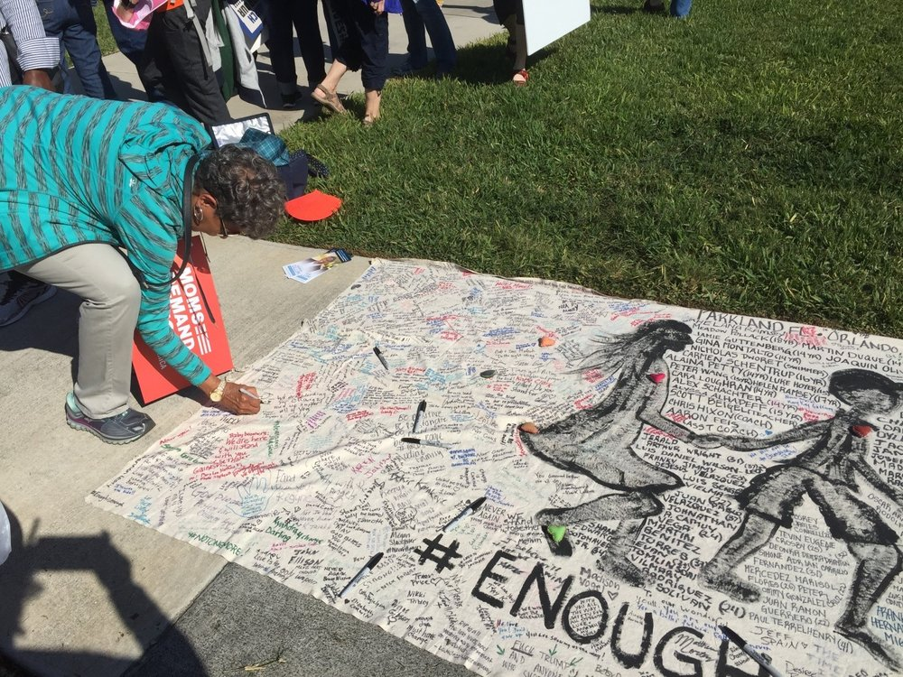 During the March 24 March for Our Lives Rally, participants signed several banners that had already been set out at other demonstrations in the last month to honor the survivors at Marjorie Stoneman Douglas High School.