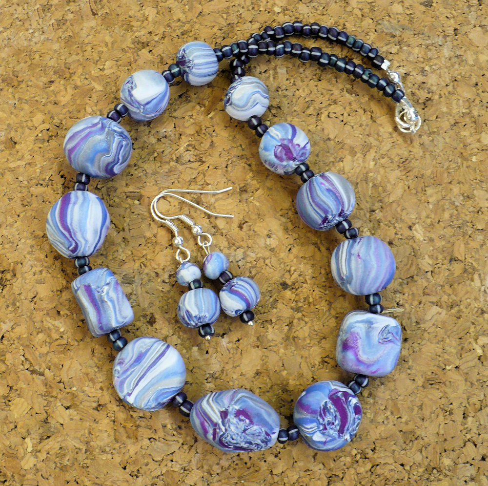 Blue & purple marbled beads