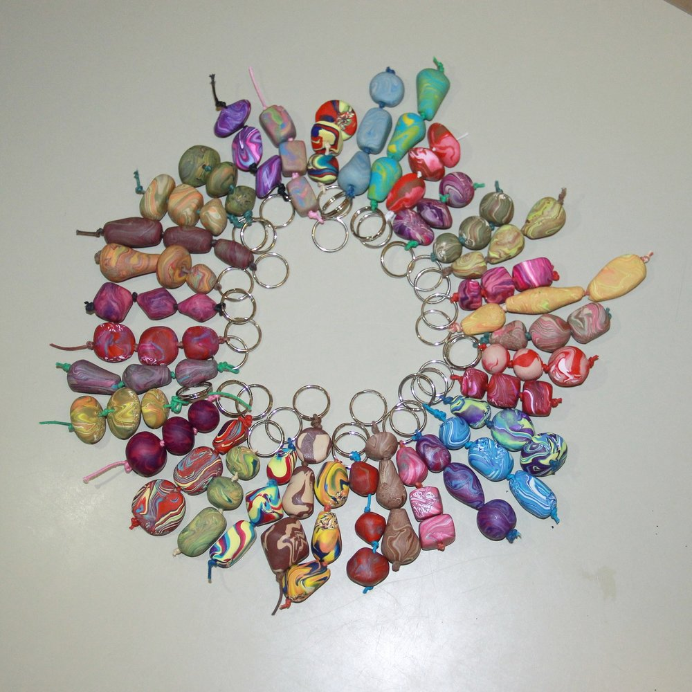 Beaded keyrings by Brimley W.I.