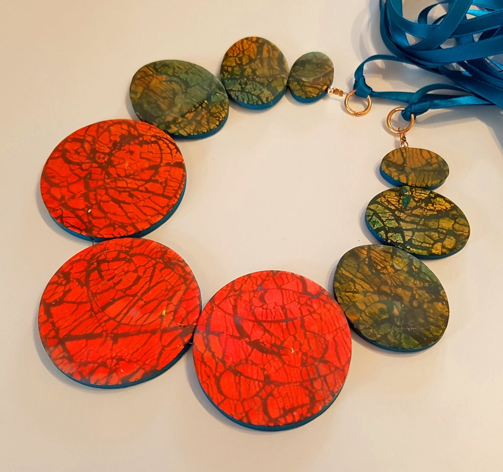 Deanna's Polymer Clay Sparkle necklace