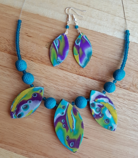 Ines' Mokume Gane jewellery set
