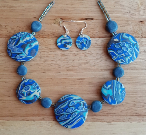Geraldine's Mokume Gane necklace and earring