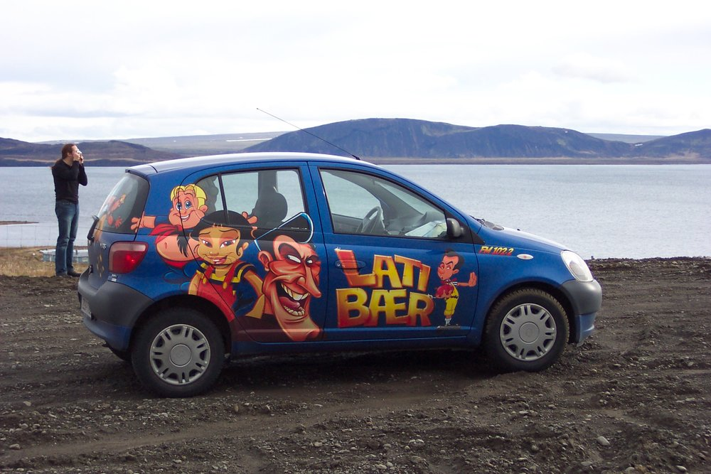 Our tiny LazyTown puppeteer car.