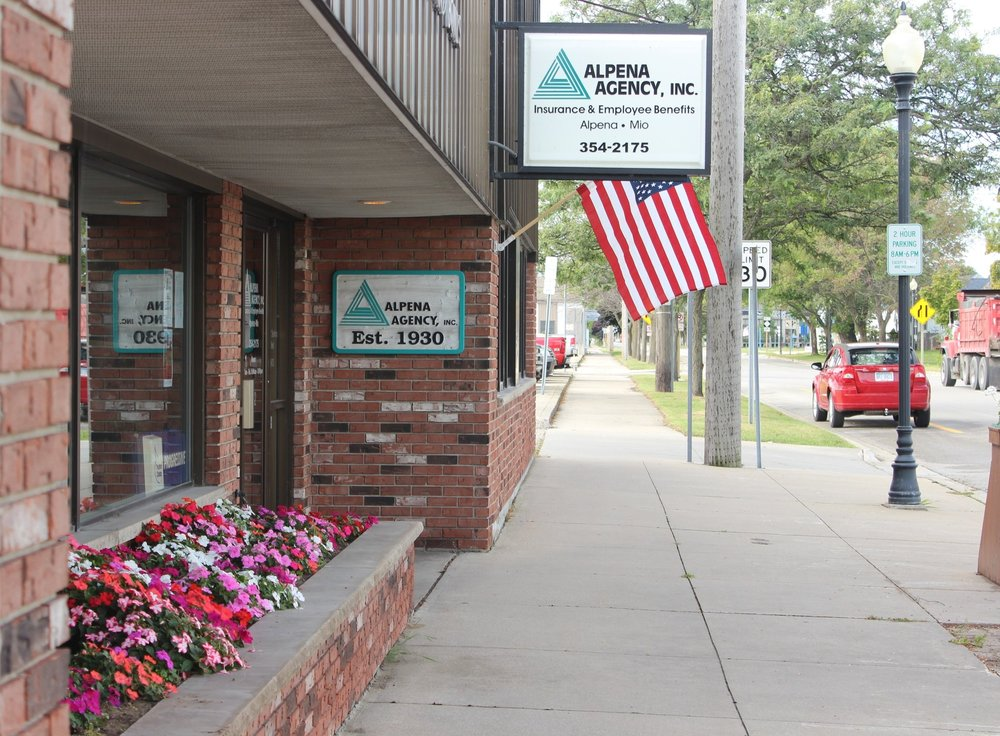 Alpena Office - 102 S. Third AvenueAlpena, MI 49707Monday - Friday 8am - 5pmCall:   (989) 354-2175Email:   insurance@alpenaagency.comText:    (989) 354-2175Fax:     (989) 354-8974
