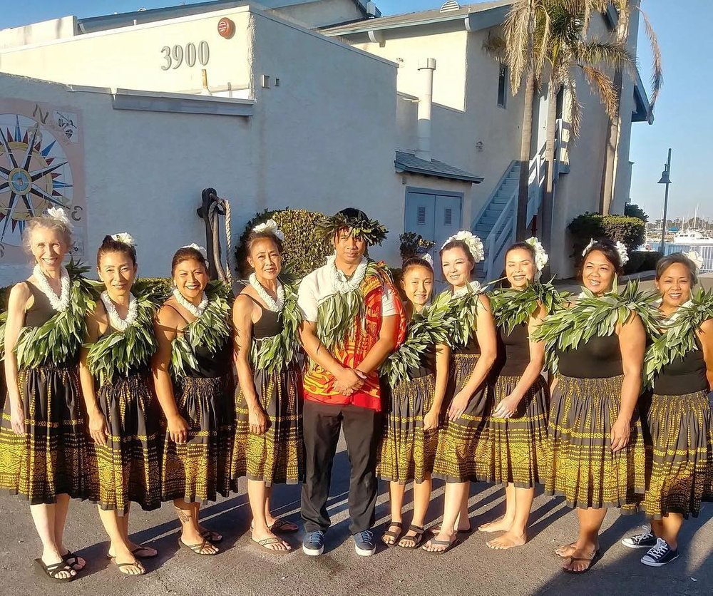 (from left): Nia, Harumi, Jackie, Angelita, Mark, Hana, Cami, Alma, Emy and Eileen as they get ready to take part in the ceremony to greet the Hikianalia