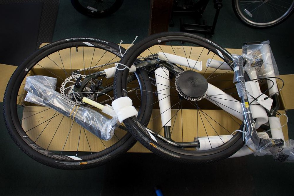 Need to ship a bike? Let us make it easy for you! We professionally disassemble bikes and cover them in protective pads and wraps, to assure it arrives unscratched and in perfect condition.