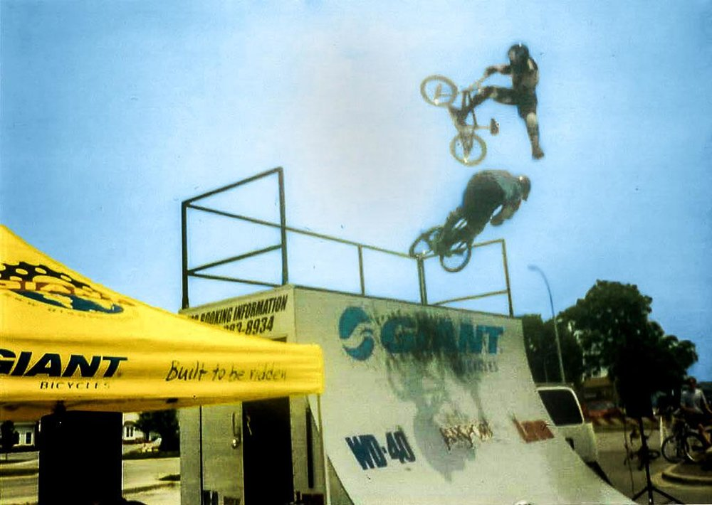 "Alpine Cycles put on various shows, such as the F  reestyle Demonstrations from the ""Giant Bicycles Stunt Team"", with riders such as Dave Voelker, Rob Nolli, Gabe Weed, and more!"