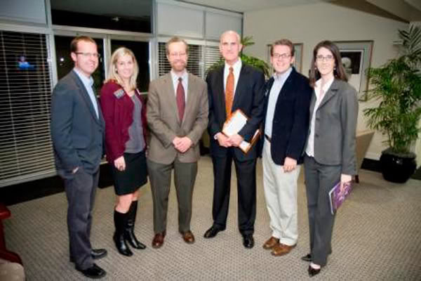 Select Knight School faculty and administrators with New York Times reporter Scott Shane  (l-r: Dr. Zachary White, Dr. Kim Weller Gregory, Scott Shane, Dean Van King, Dr. Mac McArthur, Dr. Nancy Clare Morgan)