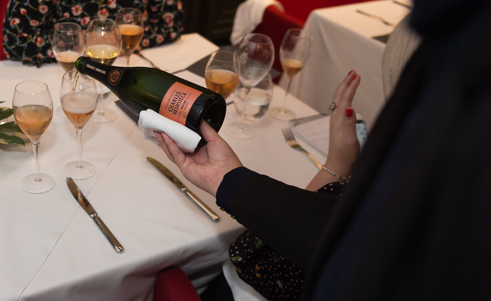 Above - Encounter #3 : Paul Askew's food and Charles Heidsieck pairing masterclass at The Arts School, Liverpool exploring original and impossible pairings with champagne.