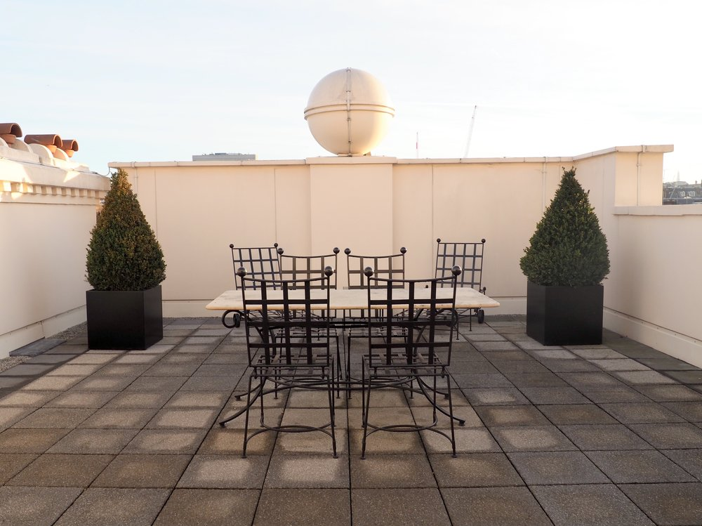 The front-facing terrace at The Beaumont Hotel's Terrace Suite