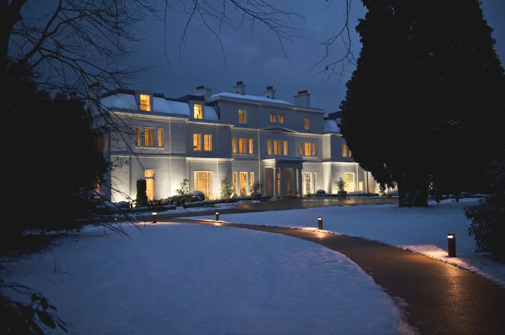 Exterior in the snow - Coworth Park