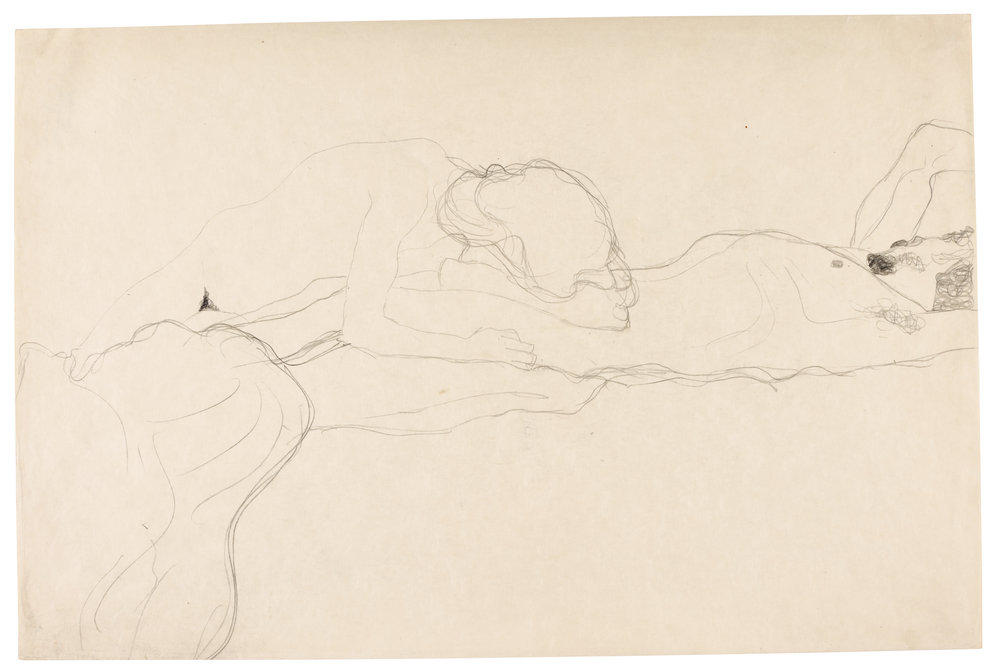 Lot 2 Gustav Klimt, Liebespaar nach rechts liegend (Lovers Lying Seen from the Right), pencil on paper, 1904-05 (est. £40,000-60,000)