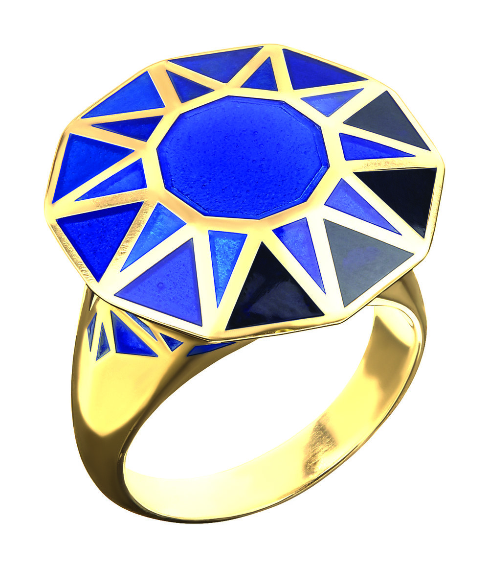 Copy Cat Ring Sapphire Gold