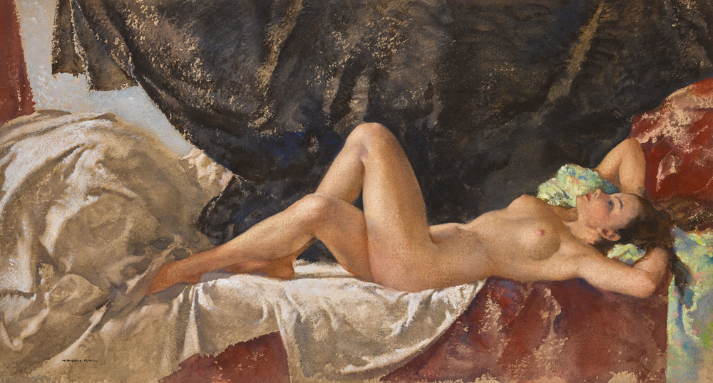 Sir William Russell Flint, Jasmin, 1950 (est. £50,000-70,000), Erotic: Passion & Desire. Image credit: Sotheby's.