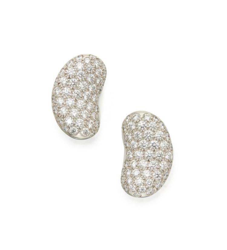 Lot 7: Pair of diamond 'Bean' cufflinks, Elsa Peretti for Tiffany & Co. Jewels Online: Part I. Image credit: Sotheby's.