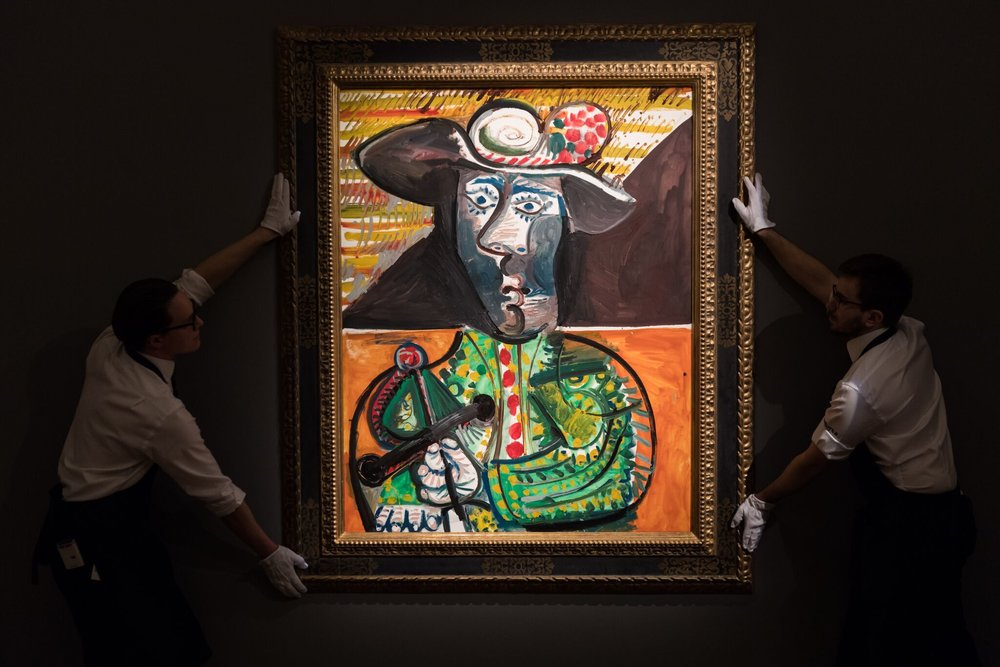 Lot 16 | Pablo Picasso |  Le Matador  | Oil on canvas, 146 by 114.3cm | Painted on 23rd October 1970 | Estimate: £14,000,000 - 18,000,000 (sold for £16,521,500 / $22,946,711 / €18,788,298)
