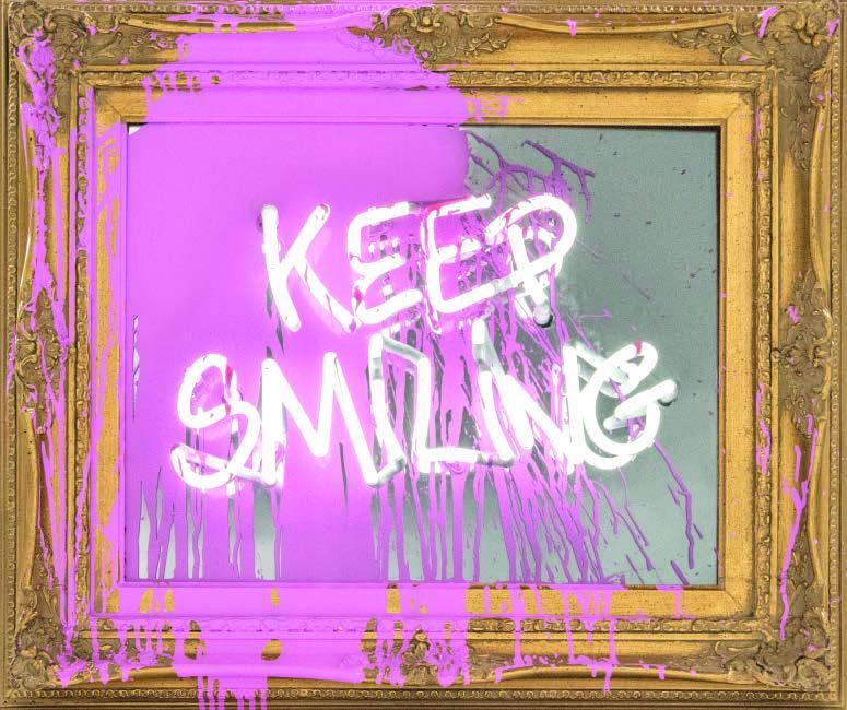 Mr Brainwash Keep Smiling (Pink Splash).Neon Lightbulb and Acrylic on Framed Mirror 2018