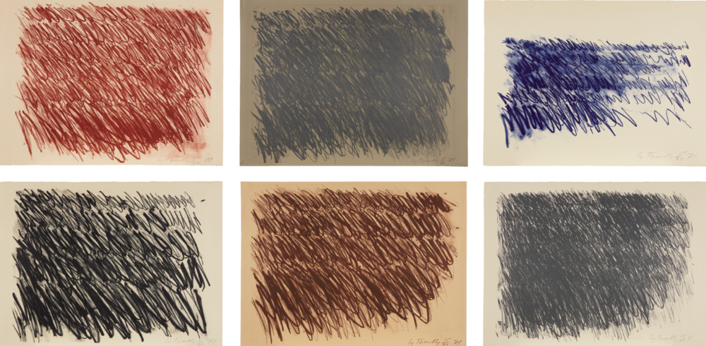 Cy Twombly  |  'Untitled' | A series of six lithographs | 1971 | Estimate: £300,000 – 400,000