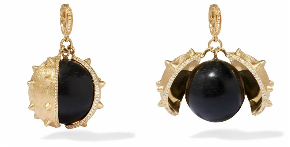 Annoushka 18ct Yellow Gold, Ebony & Diamond Mythology Conker Charm