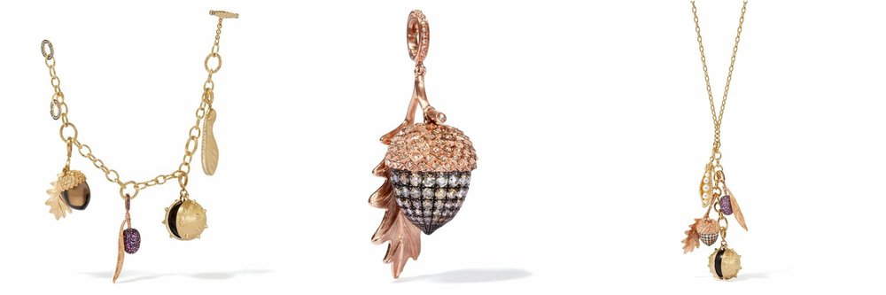 L-R: Annoushka 18ct Gold Mythology Seeds Charm Bracelet, Annoushka 18ct Rose Gold & Diamond Mythology Acorn Charm and Annoushka 18ct Rose Gold & Diamond Mythology Acorn Charm