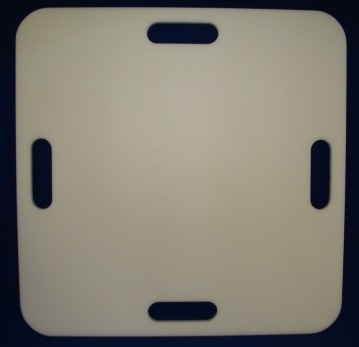 "CPR Support Board   Item #  CPR2020  Dimensions:  20"" x 20""  Price:  $67.00 each 1/2"" White HDPE CPR Support Board with hand holds on each side. Use for patient bed support when administering CPR to provide solid surface under patient."