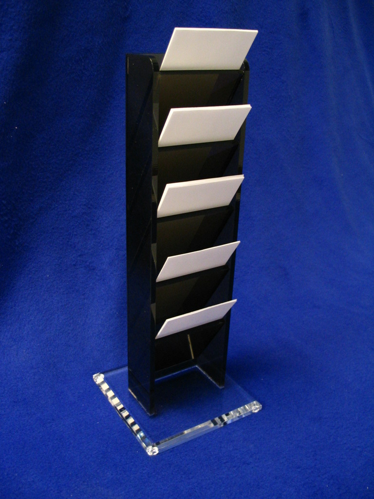 "Appointment Card Tower (5-Unit)   Item #  5750-5  Price:  $58.10 each  Dimensions : 5.75"" W x 15.00"" H x 5.75"" D Dim. O.D. This 5 card unit is compact, yet very stable with a 5.75"" square base. Constructed from 1/4"" bronze and 1/2"" clear acrylic. Card pocket size accommodates 3.25"" x 5.00"" cards. Custom sizes available."