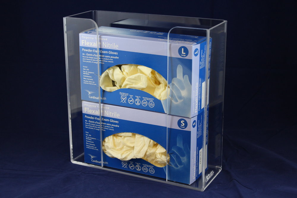 "Double Glove Box Dispenser   Item # 1100-1150  Price:  $36.80 each  Dimensions:  11.00"" W x 11.50"" H x 3.75"" I.D."