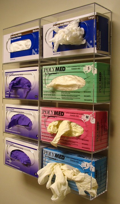 """Quad Glove Box Dispenser   Item #  1100-2243-Quad  Price:  $65.35 each  Dimensions : 22.437"""" W x 9.937"""" H x 4.125"""" D Dim. O.D."""