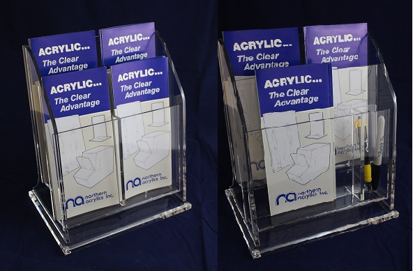 Tri-fold Literature Holder #4090-400  *Two Tier/4 Pocket *w/movable dividers