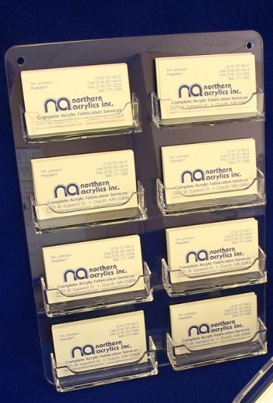 "Multiple Business Card Holder (8 Card)   Item #  MBCARD-8  Price:  $18.00 each  Dimensions:  9""x12.5"" Surface Mounted"