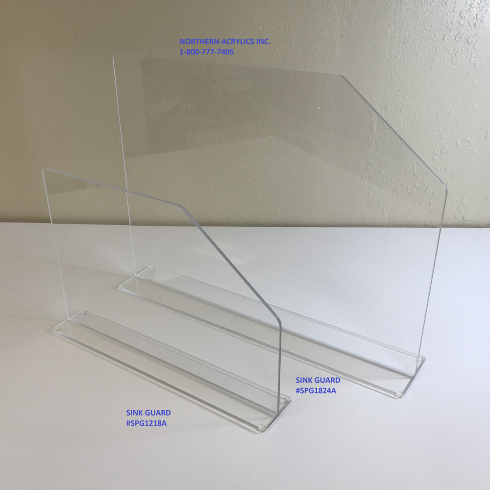 "Sink Splash Guards   Item  #SPG1218A / #SPG1824A  Dimensions : 12"" H x 18"" W /   18"" T x 24"" W  Price : SPG1218A: $ 39.50  SPG1824A: $ 50.75  1/4"" Clear acrylic portable sink splash guards/shields. (If you need a custom size - please request quote)"