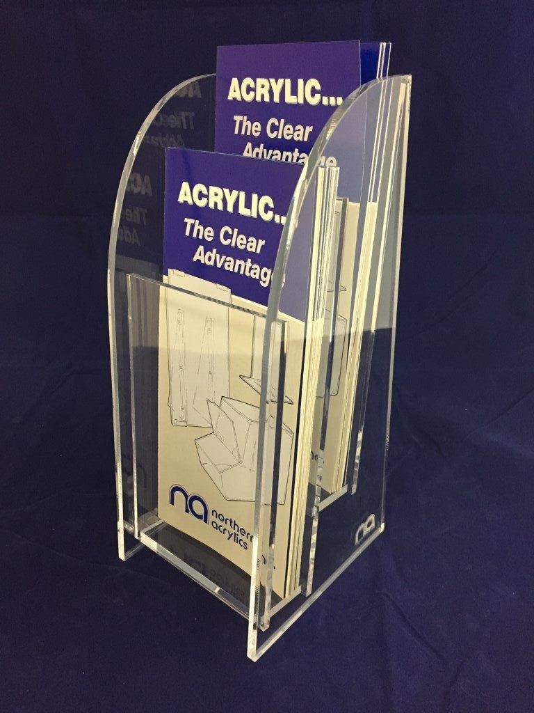 """Custom 2-Tier 4"""" x 9"""" Trifold Literature Display Item #  LH-4090-2  Price:  $38.60 ea.  Dimensions:  4.625"""" W x 5.00"""" D x 10.75"""" H O.D.   Constructed from 1/4"""" clear acrylic."""