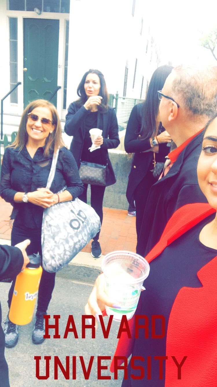 family roaming the Harvard streets