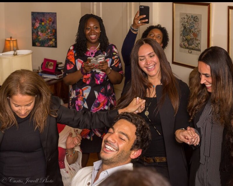 awesome shot of us dancing and enjoying professor jewell-sherman's party