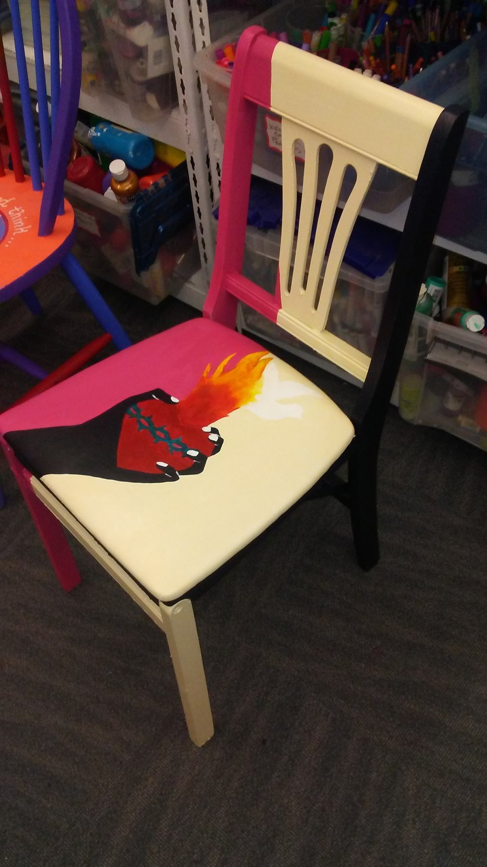 Chair I painted for a theater event about a protest for equality and justice.