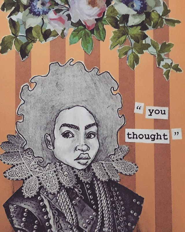 You thought.  Pen, pencil, collage. 2017.