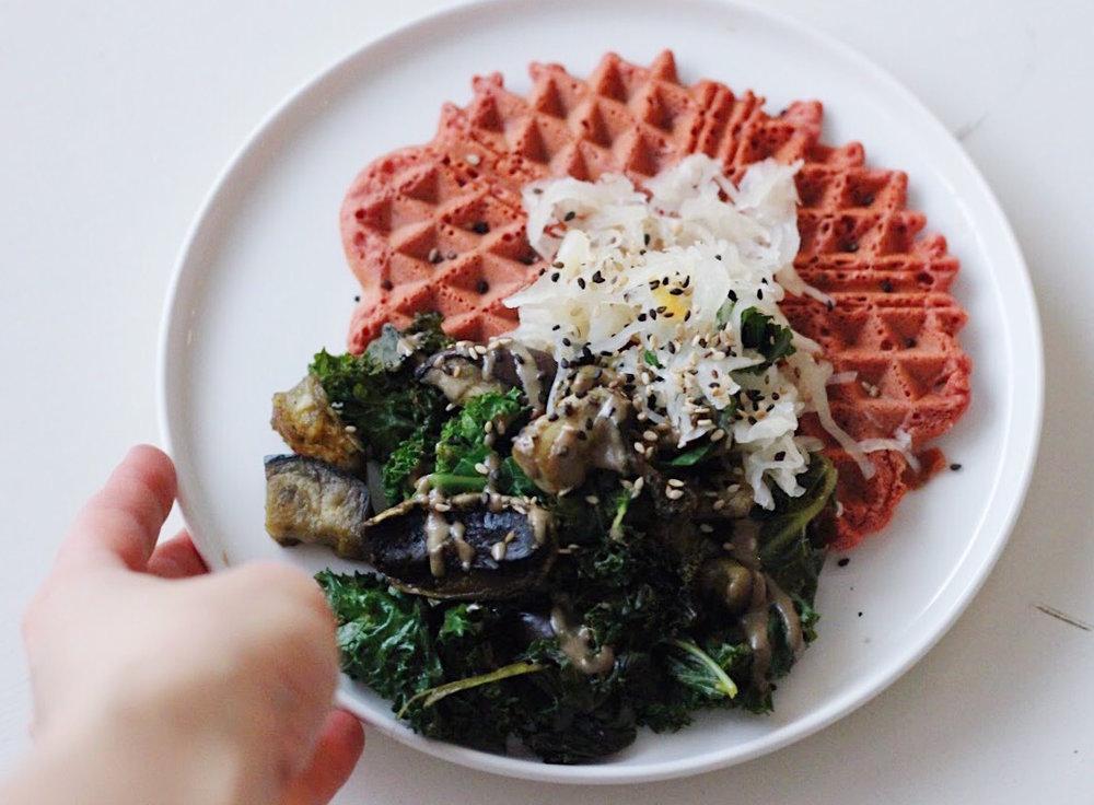 vegan and GF beetroot waffle
