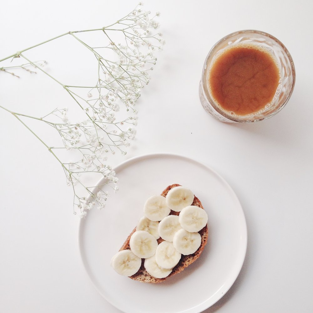 Banana toast, coffee and flowers