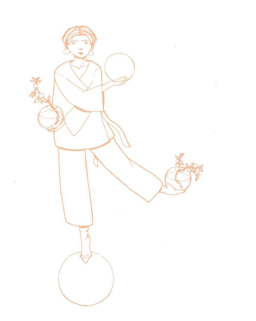 Libra illustration by Anna Mäki-Jyllilä, Inlacemedia Calendar
