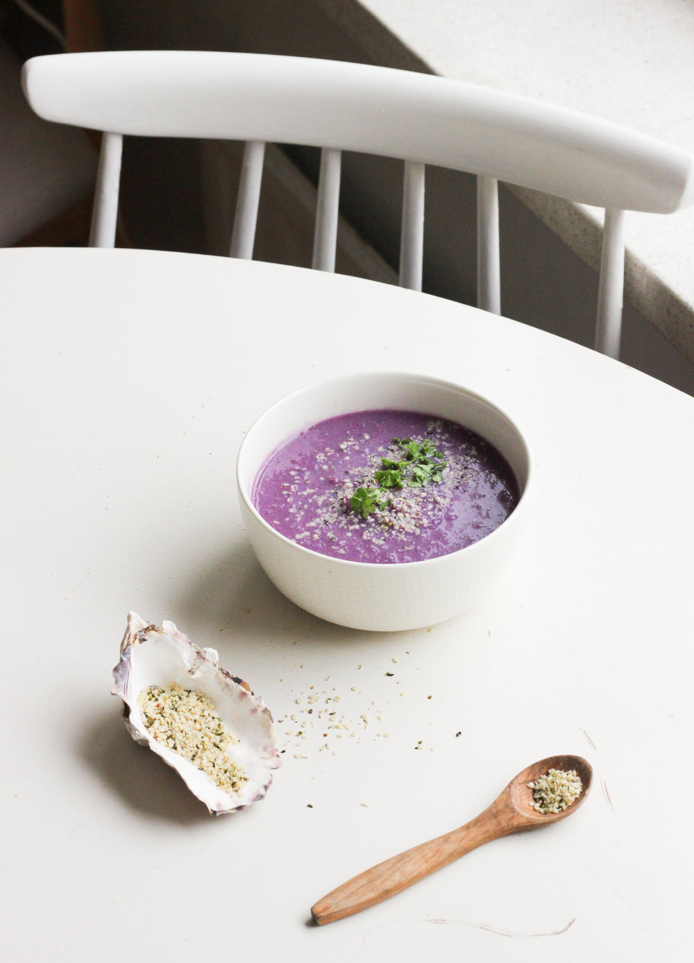 Red Cabbage, miso and coconut soup