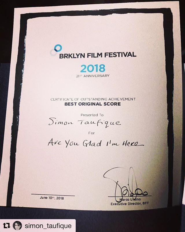 @allisnotlost.movie composer @simon_taufique won best original score @brooklynfilmfestival for @areyougladimhere 👏🏻👏🏻👏🏻congrats Simon 🤗 🎼